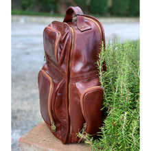 Load image into Gallery viewer, Leather Backpack Floto Italian Cargo Pocket Knapsack Military Pack brown 6