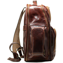 Load image into Gallery viewer, Leather Backpack Floto Italian Cargo Pocket Knapsack Military Pack brown 3