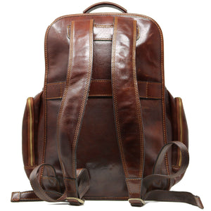 Leather Backpack Floto Italian Cargo Pocket Knapsack Military Pack brown 4