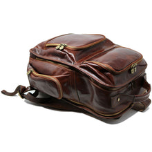 Load image into Gallery viewer, Leather Backpack Floto Italian Cargo Pocket Knapsack Military Pack brown  5