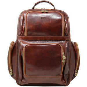 Leather Backpack Floto Italian Cargo Pocket Knapsack Military Pack brown monogram