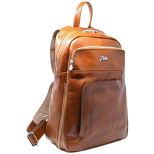 Load image into Gallery viewer, Floto Italian Leather Backpack Knapsack in Olive Honey Brown 2