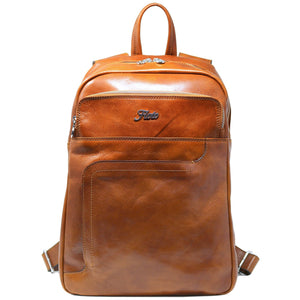 Floto Italian Leather Backpack Knapsack in Olive Honey Brown