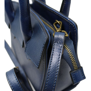 Leather Handbag Italian Floto Rapallo Mini Women's Bag blue 2