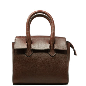 Leather Handbag Italian Floto Rapallo Mini Women's Bag brown