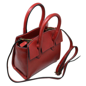 Leather Handbag Italian Floto Rapallo Mini Women's Bag red 2