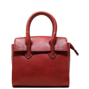 Leather Handbag Italian Floto Rapallo Mini Women's Bag red