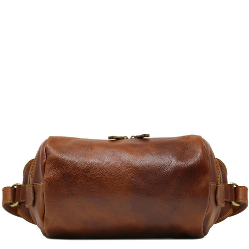 Leather Shoulder Bag Floto Italian Leather Sling Satchel saddle brown