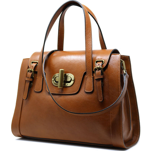 Floto Italian Leather Handbag Tavani Brown Women's Bag