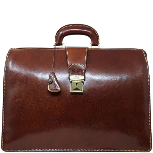 leather briefcase attache floto ciabatta monogram brown