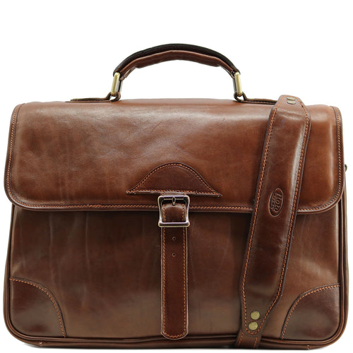 Floto Italian Cortona Messenger Bag Briefcase in brown