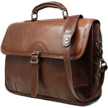 Load image into Gallery viewer, Floto Italian Cortona Messenger Bag Briefcase in brown  2