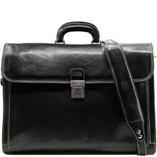 Load image into Gallery viewer, Floto leather briefcase Firenze black monogram