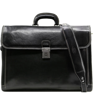 Floto leather briefcase Firenze black monogram
