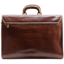 Load image into Gallery viewer, Floto leather briefcase Firenze brown back