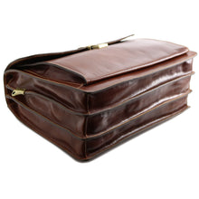 Load image into Gallery viewer, Floto leather briefcase Firenze brown brown bottom