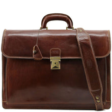 Load image into Gallery viewer, Floto leather briefcase Firenze brown monogram