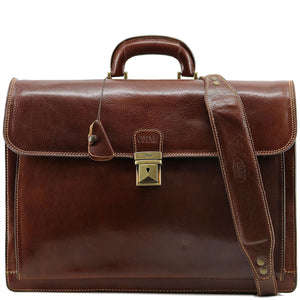 Floto leather briefcase Firenze brown monogram