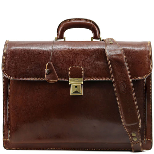 Leather Briefcase Floto Firenze Italian Lawyer Business Case Brown