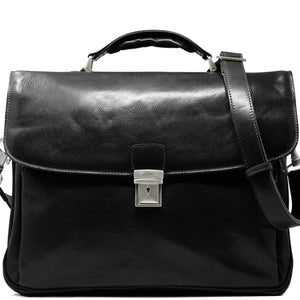 Floto Italian Leather Laptop Briefcase Firenze black