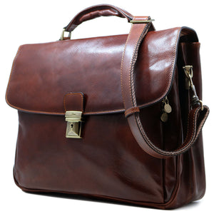 Floto Italian Leather Laptop Briefcase Firenze brown 2