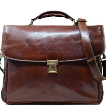 Load image into Gallery viewer, Floto Italian Leather Laptop Briefcase Firenze brown