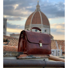 Load image into Gallery viewer, Leather Briefcase Floto Duomo Attache Large Men's Leather Bag brown 3