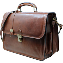 Load image into Gallery viewer, Leather Briefcase Floto Duomo Attache Large Men's Leather Bag brown 2