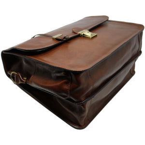 Leather Briefcase Floto Duomo Attache Large Men's Leather Bag brown 5