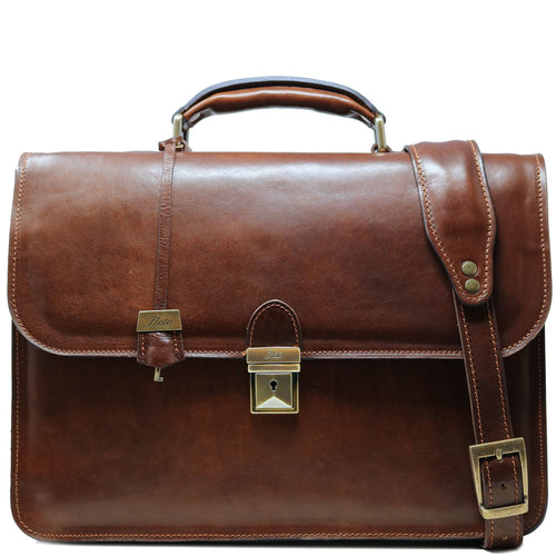 Leather Briefcase Floto Duomo Attache Large Men's Leather Bag brown