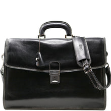 Load image into Gallery viewer, Leather Briefcase Floto Italian Milano Bag black