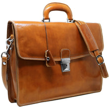 Load image into Gallery viewer, Leather Briefcase Floto Italian Milano Bag tobacco brown 2