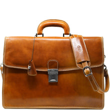 Load image into Gallery viewer, Leather Briefcase Floto Italian Milano Bag brown olive honey