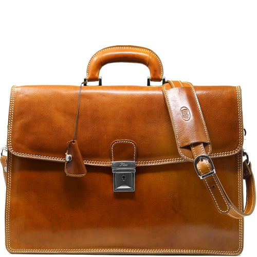 Leather Briefcase Floto Italian Milano Bag brown olive honey