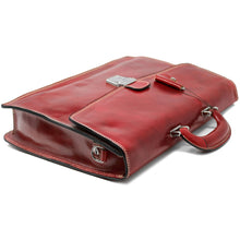 Load image into Gallery viewer, Leather Briefcase Floto Italian Milano Bag red 3