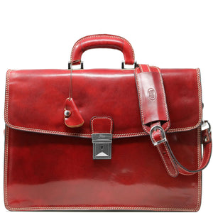 Leather Briefcase Floto Italian Milano Bag red
