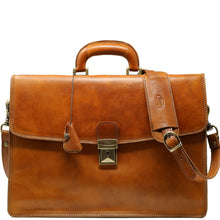 Load image into Gallery viewer, Leather Briefcase Floto Italian Milano Bag tobacco brown