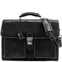 Load image into Gallery viewer, Leather Briefcase Floto Novella Italian Messenger Bag Attache black