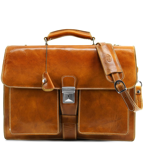 Leather Briefcase Floto Novella Italian Messenger Bag Attache olive honey brown