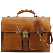 Load image into Gallery viewer, Leather Briefcase Floto Novella Italian Messenger Bag Attache tobacco brown