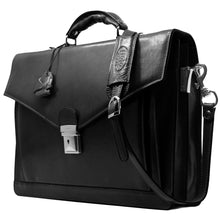 Load image into Gallery viewer, Floto Ponza Italian leather briefcase attache men's bag black 2