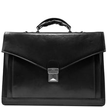 Load image into Gallery viewer, Floto Ponza Italian leather briefcase attache men's bag black