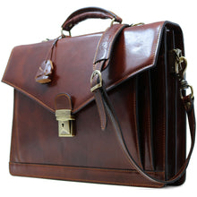 Load image into Gallery viewer, Floto Ponza Italian leather briefcase attache men's bag brown side