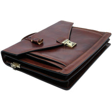 Load image into Gallery viewer, Floto Ponza Italian leather briefcase attache men's bag brown 6