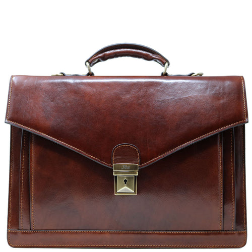 Floto Ponza Italian leather briefcase attache men's bag brown