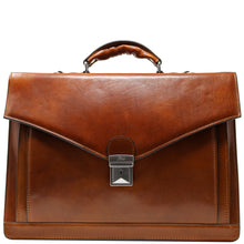 Load image into Gallery viewer, Floto Ponza Italian leather briefcase attache men's bag olive brown