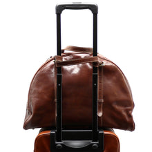 Load image into Gallery viewer, Leather Duffle Travel Bag Carryon Overnighter Gym Bag Floto Duomo brown 2