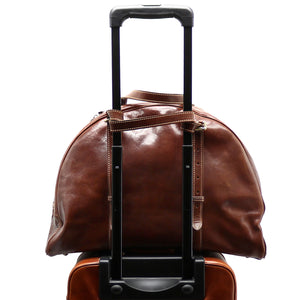 Leather Duffle Travel Bag Carryon Overnighter Gym Bag Floto Duomo brown 2