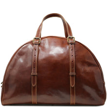 Load image into Gallery viewer, Leather Duffle Travel Bag Carryon Overnighter Gym Bag Floto Duomo brown