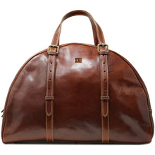 Load image into Gallery viewer, Leather Duffle Travel Bag Carryon Overnighter Gym Bag Floto Duomo brown monogram